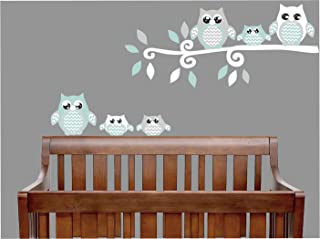 Seafoam Green and Grey Owl Wall Decals/Owl Stickers/Owl Nursery Wall Decor (Seafoam Green and Gray Owl Wall Decals)