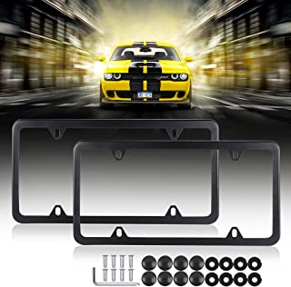 SCITOO Stainless Steel License Plate Frame Car Licence Plate Covers Black 2 PCS 4 Holes with Bolts Washer Caps fit US Standard