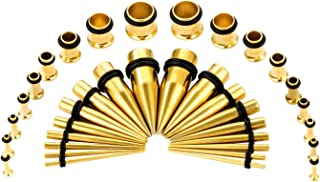 CABBE KALLO 36PCS Ear Gauge Stretching Kit Stainless Steel Tapers and Plugs Set Eyelet 14G-00G