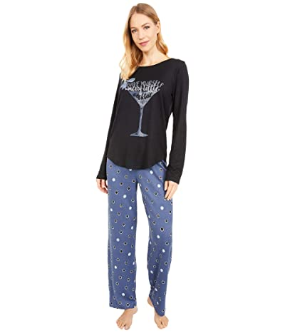 HUE Merry Dot Cozy Knit PJ Set (Black) Women