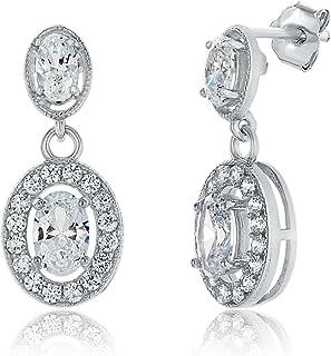 Montage Jewelry Women's Oval Shape Cubic Zirconia & Sterling Silver Bridal Earrings