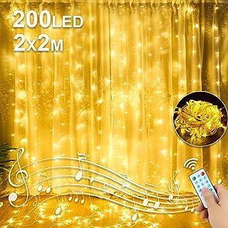 Molbory Rideau lumineux LED USB 2 m x 2 m, 200 LED Guirlande lumineuse rideau IP44 étanche avec 8 modèles de lumière pour ...