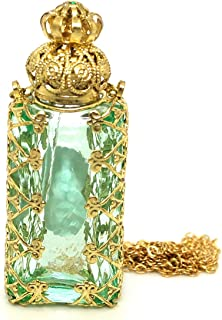 Czech Jewelled Decorative Floral Light Green Perfume Oil Bottle Holder Necklace/pendant
