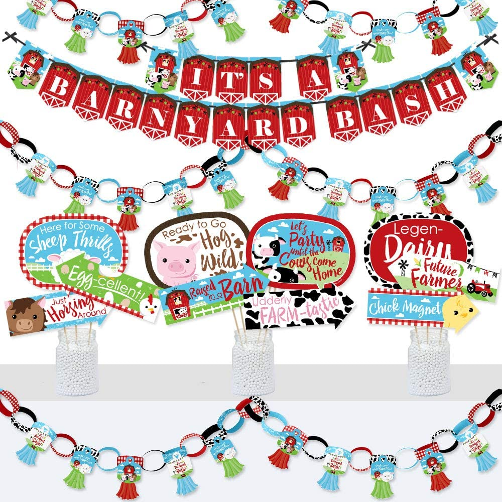Big Dot of Happiness Farm Animals - Banner and Photo Booth Decor