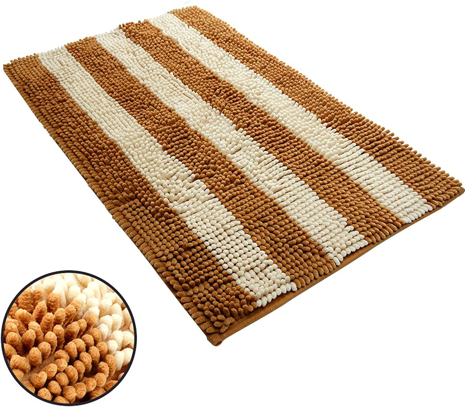 Ihoming Pet Mud Rugs Bowl Bed Mat Absorbent Microfiber Chenille Stripe Dog Cat Door Mat Paw Step Clean Rugs, Khaki Beige, 19 by 31 inches