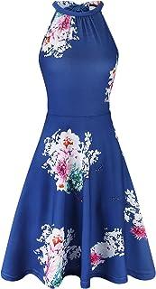 f87290aa30 OUGES Women s Halter Neck Floral Summer Casual Sundress