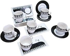 ピアノデザイン コーヒーカップ + ソーサー + 小皿(3点セット)x 6組 (コーヒーカップ、ソーサー、小皿 x 6組みセット、クリーム色)