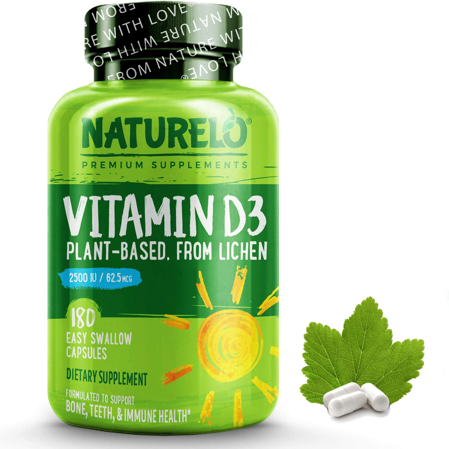 NATURELO Vitamin D - 2500 IU (62.5mcg) - Plant Based from Lichen - Natural D3 Supplement for Immune System, Bone Support, Joint Health - Non-GMO Gluten-Free - 180 Vegan Mini Capsules   6 Month Supply