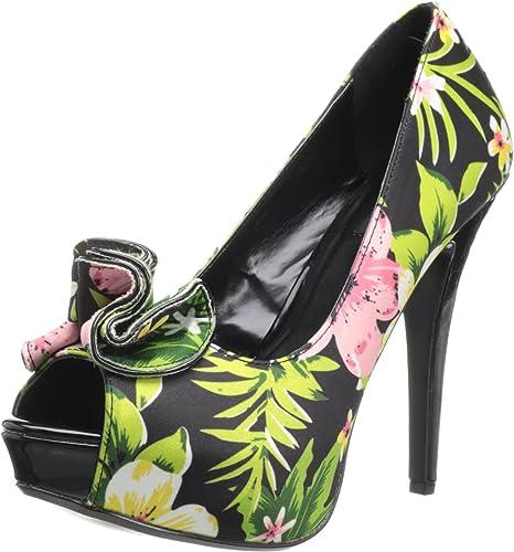 Pin Up Couture LOLITA-11 Blk Floral Print Fabric UK 2 (EU 35)