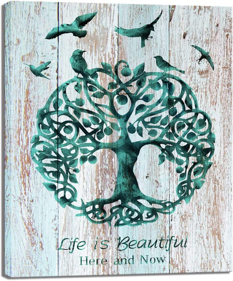 Welmeco Abstract Tree of Life with Birds Silhouette Canvas Wall Art Prints Rustic Inspirational Beautiful Life Quotes Poster Modern Home Living Room Bedroom Dining Room Wall Decoration