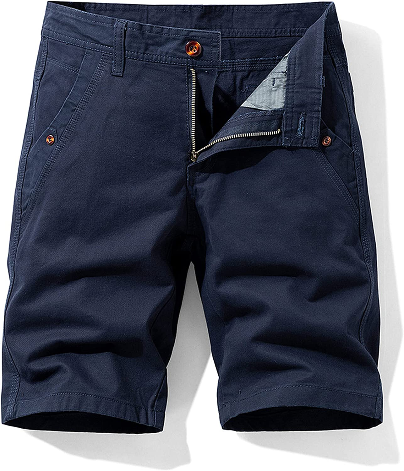 GAOZHEN Men's Cotton Twill Cargo Comfy Shorts,Outdoor Loose Solid Color Pants,Casual Gentleman,Blue,28