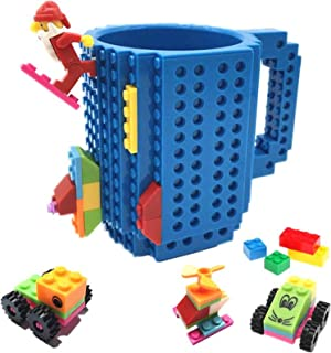 HUISHENG Build-On Brick Mug, Creative DIY Building Blocks Coffee Cup, Water Bottle Puzzle Toy Mug, Desk Ornament, Unique Halloween Present Christmas Gift Idea, Compatible with Lego (Blue)