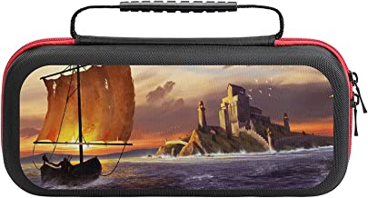 $22 » Art Drawing Sea Sailboat Castle Birds Sunset Game Bag Switch Travel Carrying Case for Personalized Design Switch Lite Cons...