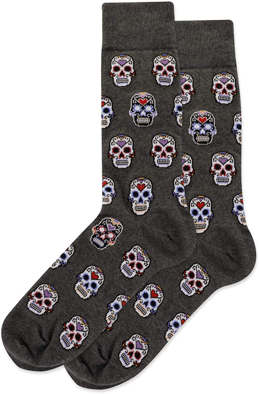 Hot Sox Mens Sugar Skulls Crew Socks