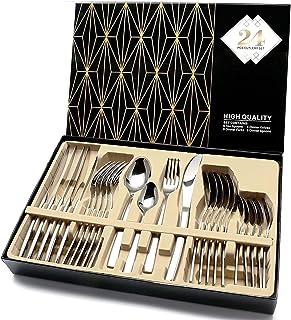 Silverware Set, HOBO 25-Piece Stainless Steel Flatware Silverware Set with Premium Gift box, Include Knife/Fork/Spoon/Teas...