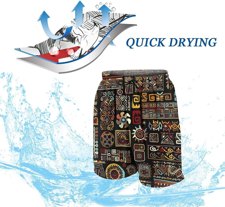 FuYin African Tribal Boys Swim Trunks Quick Dry Beach Board Swim Shorts Swimsuit Swimwear from 7T to 18