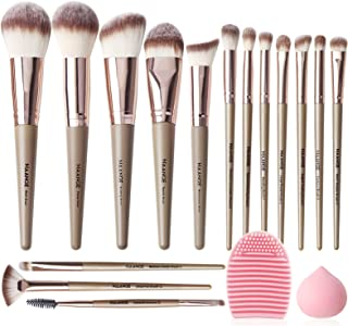Make-up Borstels, MAANGE Make-up Borstel Set 15 STKS Make-up Borstel Premium Synthetische Foundation Borstels Voor Gezicht...