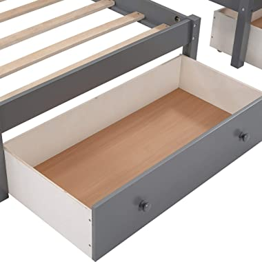 Full Over Twin Over Twin Triple Bunk Beds for Kids, L-Shaped 3 Bunk Beds with Drawers, No Box Spring Needed