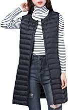 JOKHOO Women's Solid Button-Front Quilted Long Puffer Down Vests Jacket