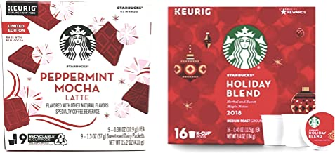 Starbucks Peppermint Mocha Latte and Holiday Blend K Cup Pods Variety Pack of 2 Boxes - 25 K Cups Total - Limited Edition Seasonal Flavors - Arabica Coffee