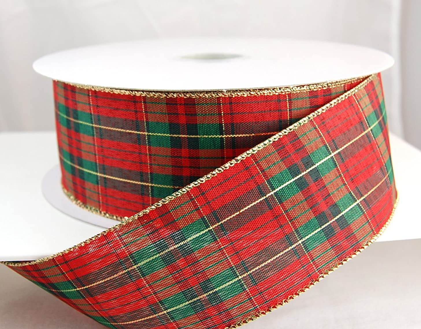 Reliant Ribbon 92321W-001-40K Mcshay Plaid Value Wired Edge Ribbon, 2-1/2 Inch X 50 Yards, Multi
