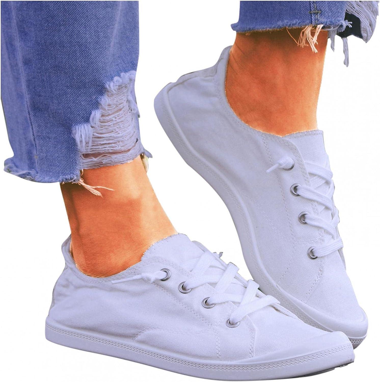 AODONG Walking Shoes for Women Slip On,Women Fashion Sneakers Breathe Canvas Walking Shoes Comfort Flat Platform Loafers