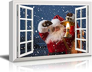 wall26 - Canvas Print Wall Art - Window Frame Style Wall Decor - Santa Claus Carrying Gifts Coming on Christmas Eve | Giclee Print Modern Home Decor. Stretched & Ready to Hang - 24