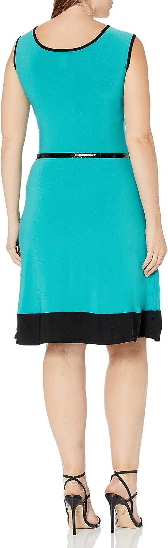 Star Vixen Women's Plus Size Sleeveless Short Ity Knit Skater Dress with Black Colorblock Hem and Narrow Belt