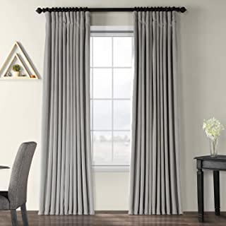 Half Price Drapes VPCH-VET1213-96 Signature Doublewide Blackout Velvet Curtain, Silver Grey, 100 X 96
