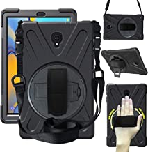 CWNOTBHY Case for Samsung Galaxy Tab A 10.5 Case 2018(SM-T590/T595/T597), [360 Degree Rotating Hand Strap/Kickstand + Shoulder Strap] Heavy Duty Drop Protection Case Cover (Black)