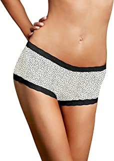 Womens Microfiber and Lace Boyshort(40760)-Twinkle-5