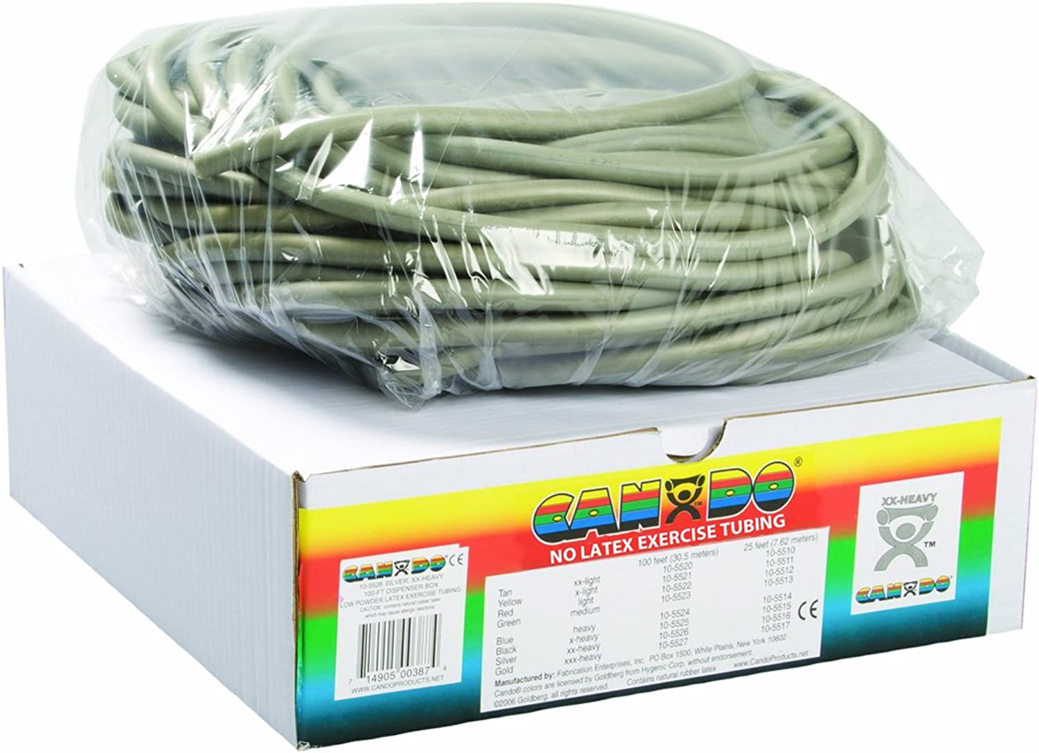 (silver) - Cando 10-5726 No Latex Exercise Tubing - 100ft - Silver - XX-Heavy