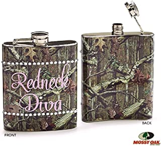 Mossy Oak Pink Camouflage Redneck Diva Flask- Drink Holder 8oz