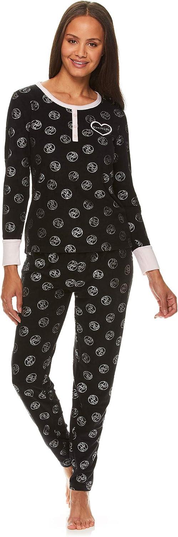 bebe Womens Fleece Cuffed Long Sleeve Shirt and Lounge Pajama Pants Sleep Set