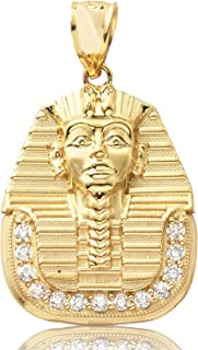 LoveBling 10k Yellow Gold Pharaoh Head with 37cz Pendant (1.30