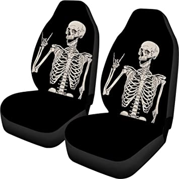 Poceacles 2 Piece Halloween Car Seat Covers Decor Black, Funny Skull Print Front Seats Only, High Back Bucket Seat Protector Car Seat Covers Universal Fit for Car, SUV, Truck or Van: image