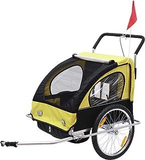 comprar comparacion HOMCOM Remolque para Niños DOS PLAZAS con Amortiguadores Carro para Bicicleta CON BARRA INCLUIDA y Kit de Footing COLOR AM...