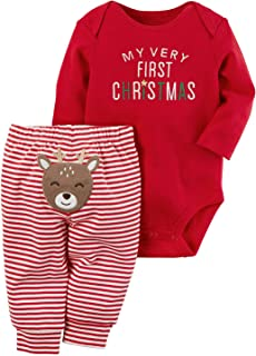 AGAPENG Christmas Outfits Baby Girls Boys My First Christmas Rompers Onesie + Stripe Deer Print Pants + Christmas Hat