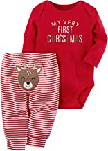 AGAPENG Christmas Outfits Baby Girls Boys My First Christmas Rompers Onesie + Stripe Deer Print Pants + Christmas Hat
