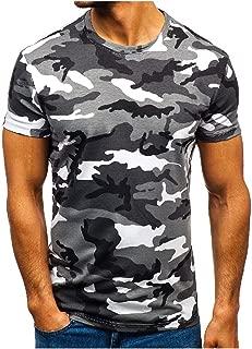Vska Men Fashion Summer Crew Causal Comfy Short-Sleeve Camo T-Shirt