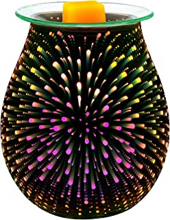 Electric Wax Melter COOSA 3D Starburst Fireworks Glass Candle Warmer Wax Burner Melt Fragrance Warmer Incense Oil Warmer Night Light Aroma Decorative Lamp for Gifts, Decor for Home Office