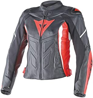 Dainese Avro D1 Womens Leather Motorcycle Jacket Black/Red/White 42 Euro/4 USA