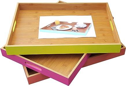 Preisvergleich für Fachhandel Plus Bambus Tablett mit Griffen Serviertablett Frühstückstablett versch. Farben (Altrosa)