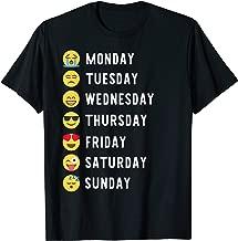 Weekdays Emoji Funny 7 Weekdays Mood Gift Emoticon T-Shirt