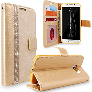 Galaxy S6 Edge Plus Case, Cellularvilla [Diamond Jewel] [Card Slots] Embossed Flower Design Premium Pu Leather Wallet Case Flip Cover For Samsung Galaxy S6 Edge Plus / S6 Edge+ (Golden Bling)