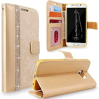 Galaxy S6 Edge Plus Case, Cellularvilla [Diamond Jewel] [Card Slots] Embossed Flower Design Premium Pu Leather Wallet Case Flip Cover For Samsung Galaxy S6 Edge Plus / S6 Edge+ (Golden Bling)