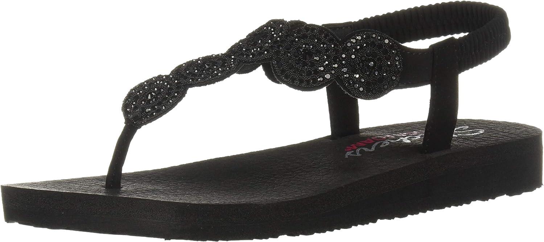 Skechers Womens Meditation - Stars & Sparkle - Circular Rhinestone Slingback Thong Flip-Flop