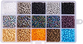 Pandahall Elite About 1900 pcs15 Color Czech Glass Seed Beads 5 x 3.5mm Two Hole Beads Assorted in Storage Box