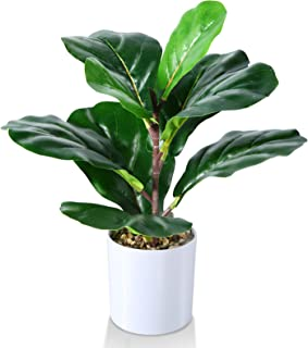 Kazeila Mini Plantas Falsas en Maceta, Planta de Higo de Hoja de violín Artificial de 40 cm para Oficina en casa, Hotel, l...
