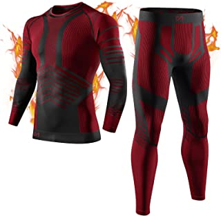 MEETYOO Men's Thermal Underwear Set, Sport Base Layer Wicking Long Johns Thermals Leggings Compression Tops for Skiing Run...